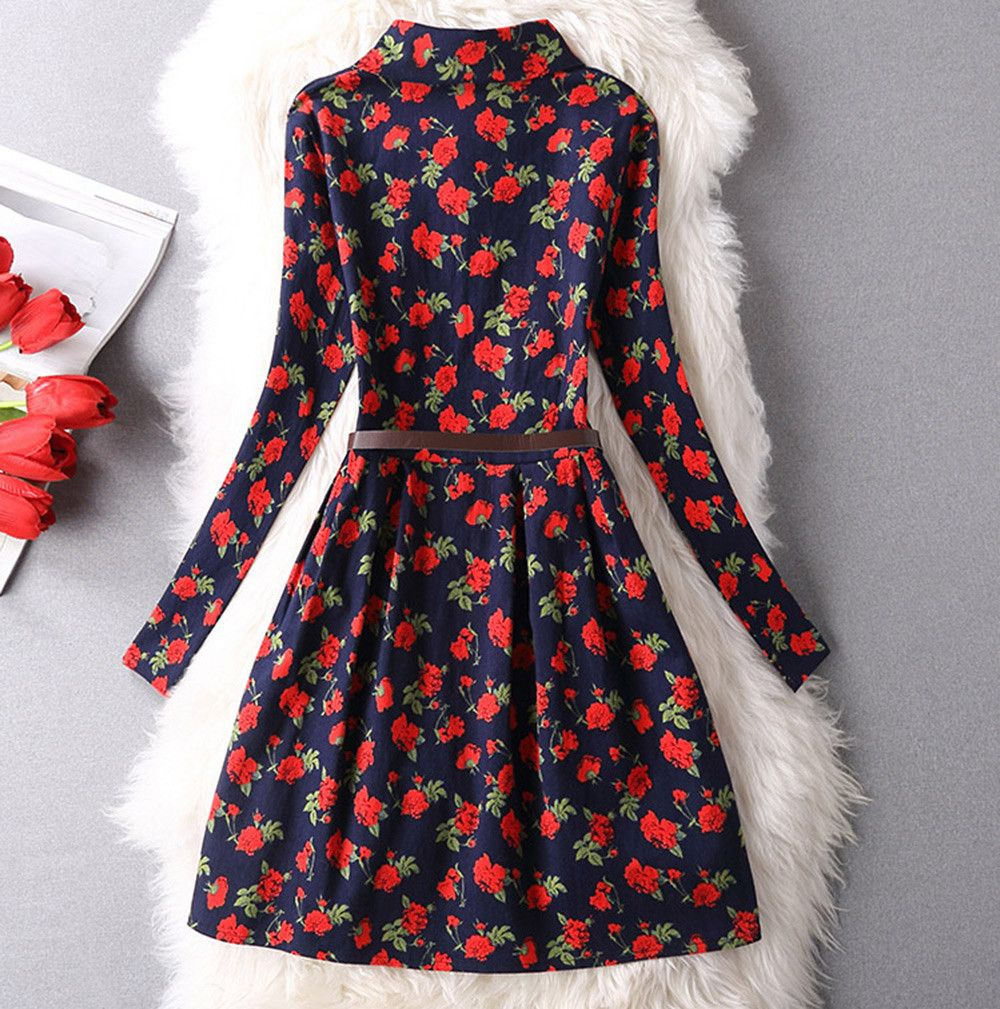 Elegant Turn-down Collar Long Sleeve Flower Print Button Belt Design Women Shirt Dress