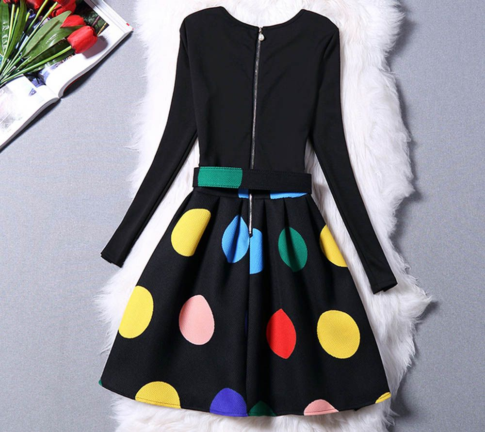 Stylish Round Collar Long Sleeve Color Block Zipper Type Women Dress with Belt