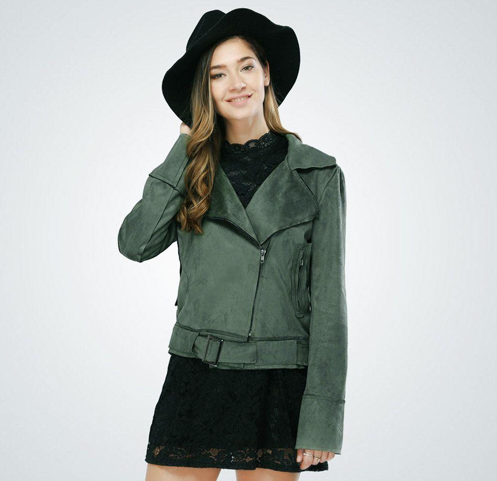 Fashionable Turn-down Collar Long Sleeve Belt Zipper Type Pure Color Women Jacket