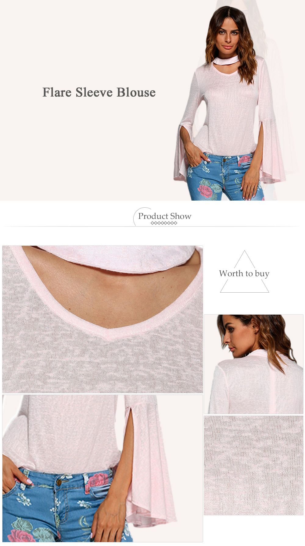 Sweet Round Collar Flare Sleeve Pure Color Women Blouse