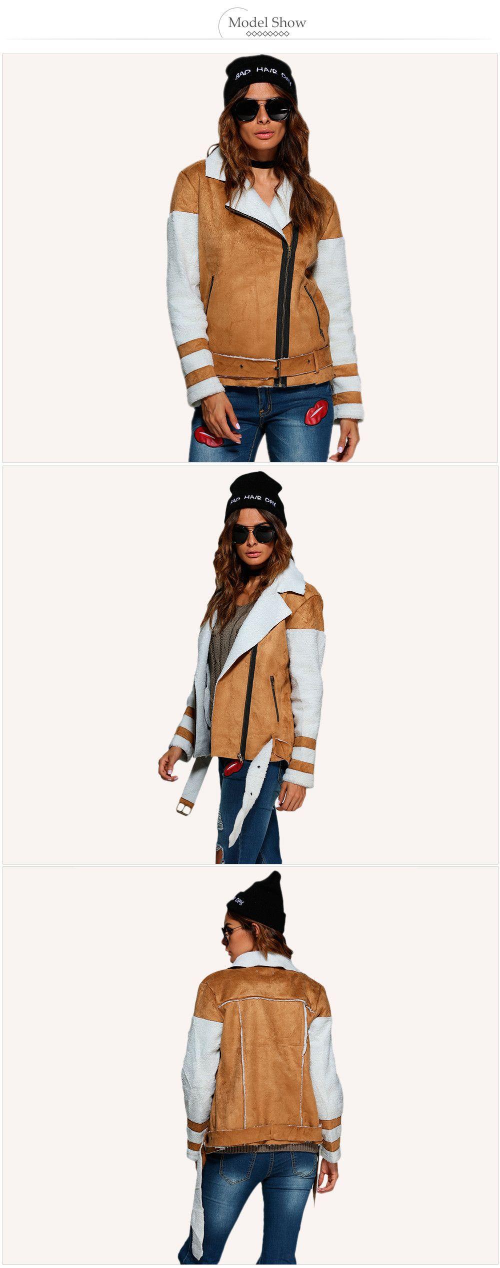 Street Style Turn Down Collar Color Block Women Biker Jacket