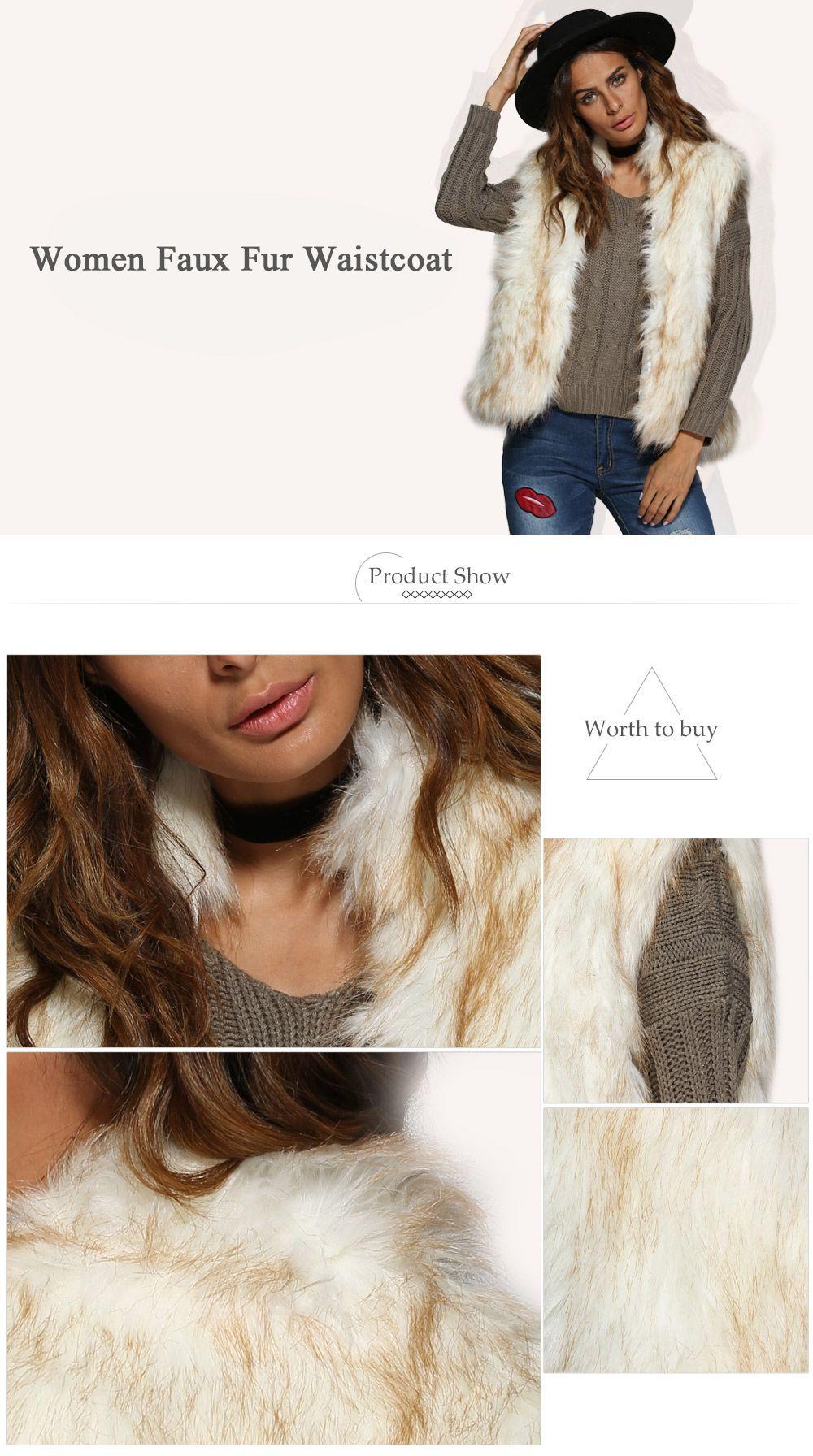 Chic Collarless Women Faux Fur Coat