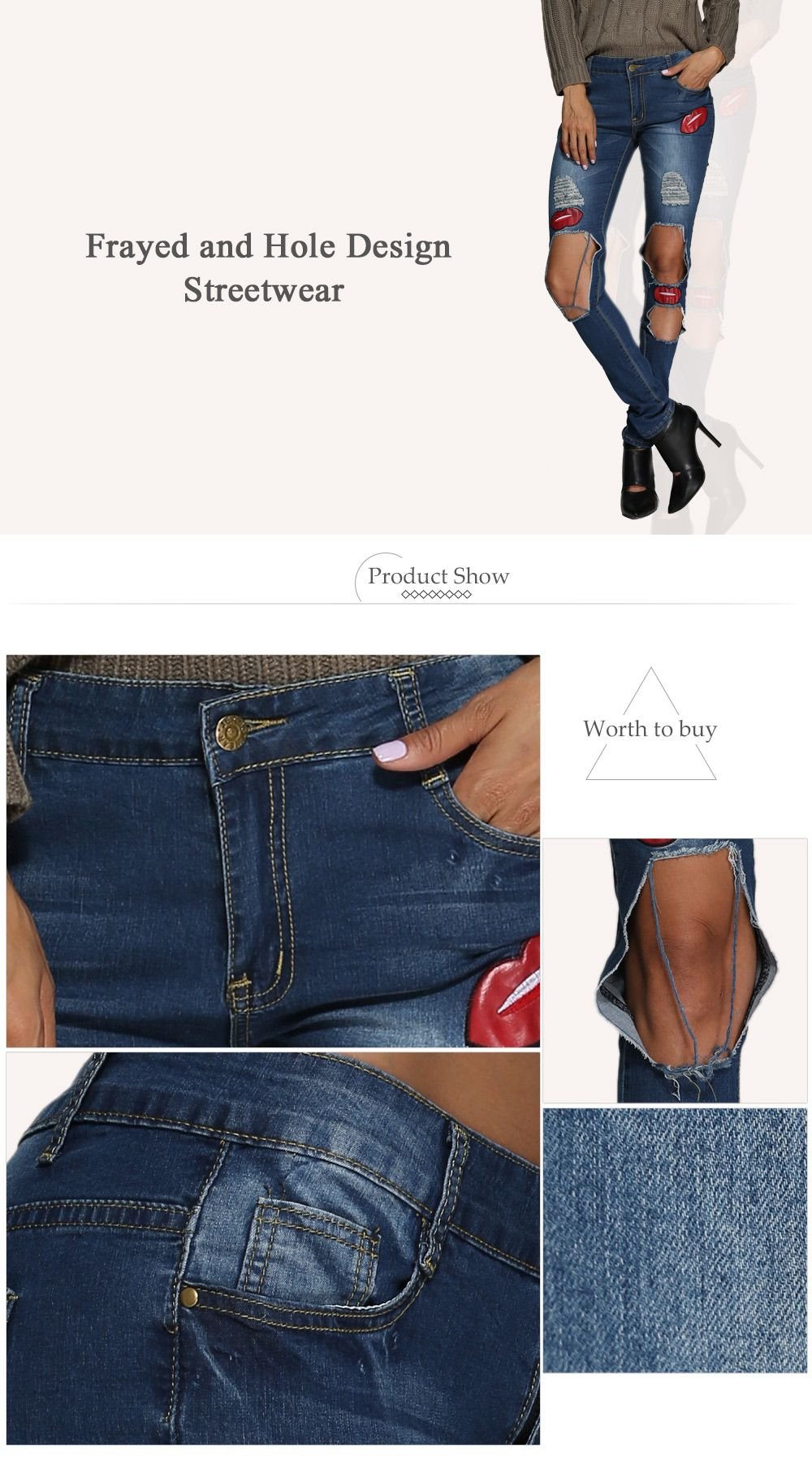 Street Style Mid Waist Patchwork Design Hole Women Jeans