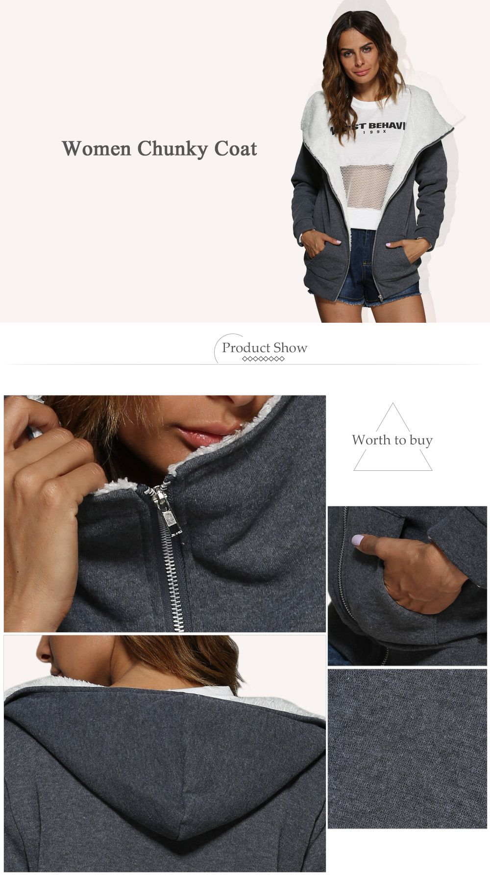 Casual Hooded Zipper Chunky Women Coat