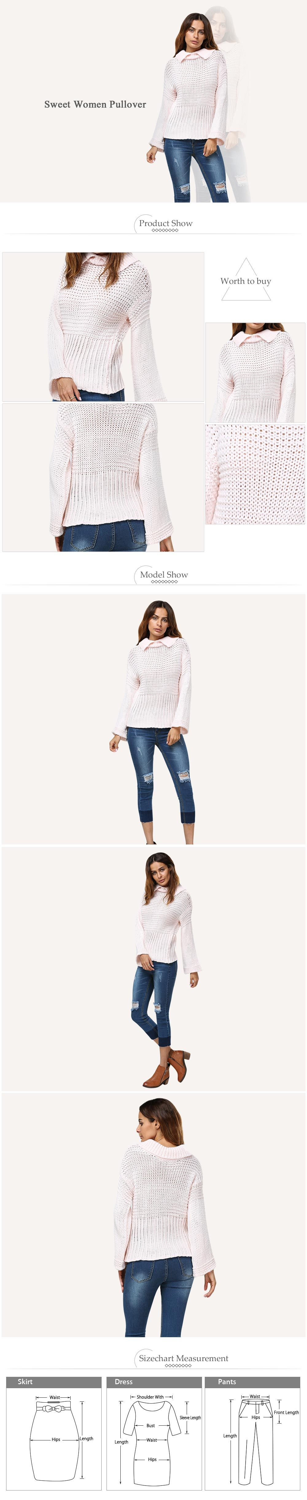 Sweet Turn Down Collar Flare Sleeve Knitted Women Pullover