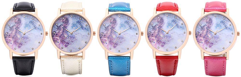 Chic Women Quartz Watch Artificial Diamond Starry Sky Pattern Dial Wristwatch