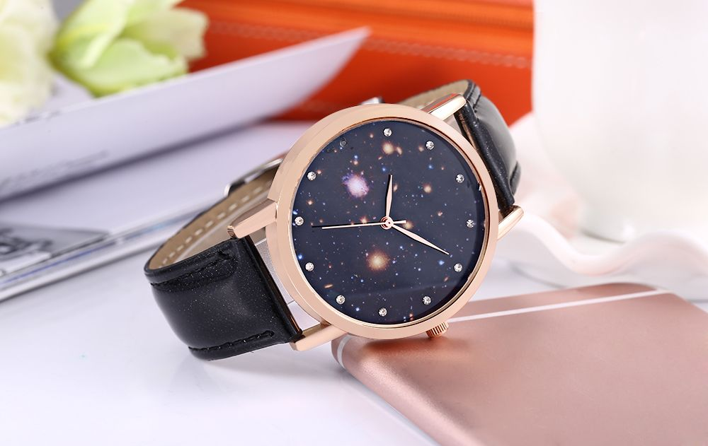 Chic Female Quartz Watch Artificial Diamond Starry Sky Pattern Dial Wristwatch