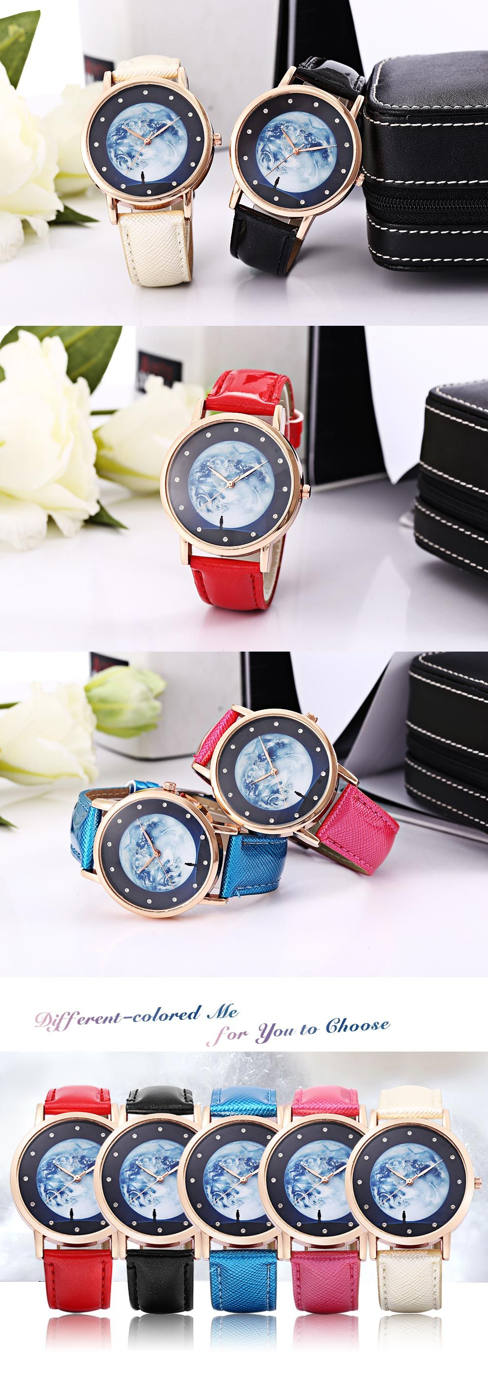 Fashion Female Quartz Watch Artificial Diamond Starry Sky Pattern Dial Leather Band Wristwatch