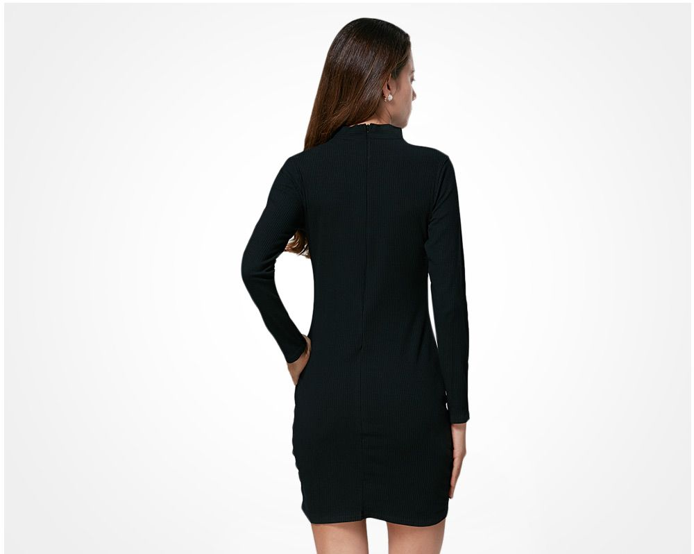Brief Halter Cut Out Bodycon Women Black Dress
