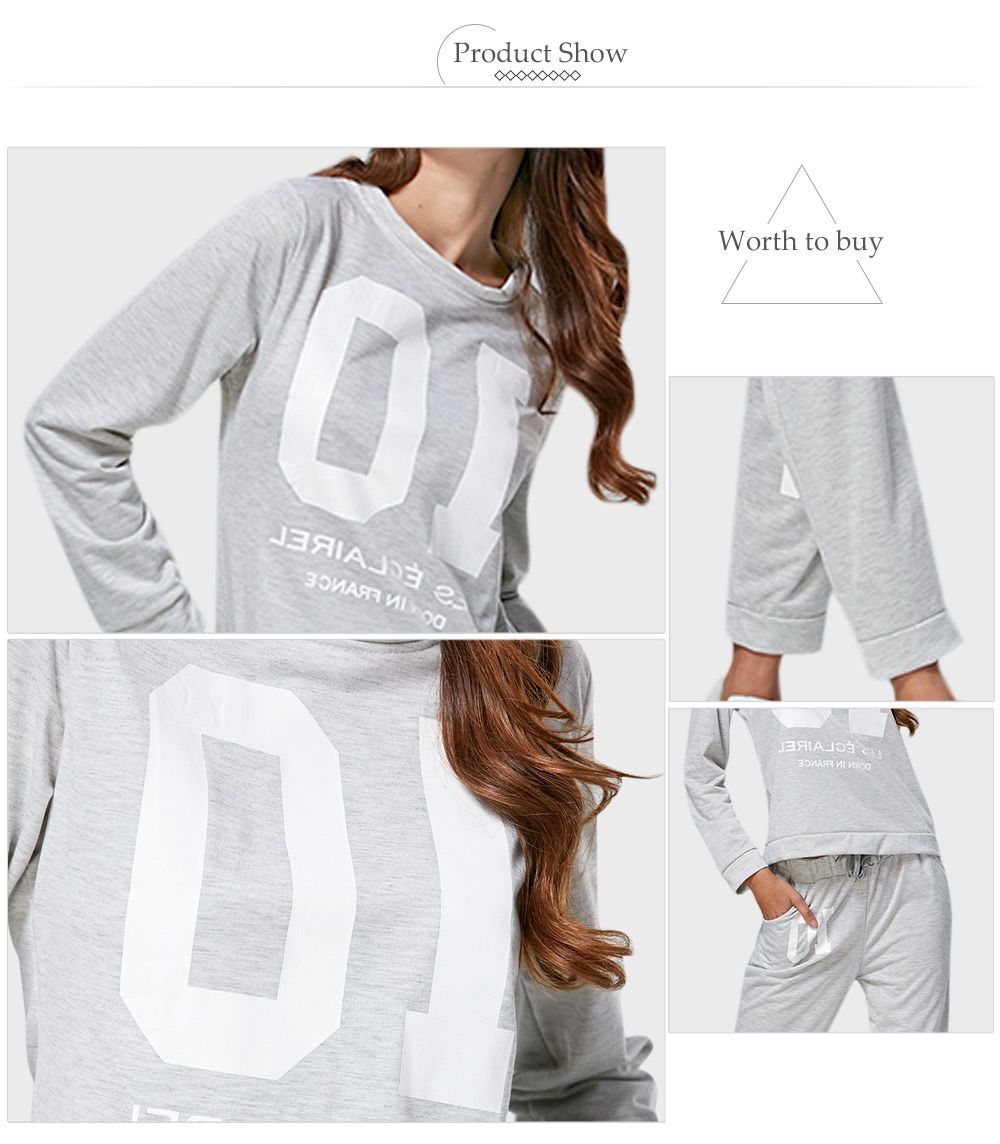 Casual Round Collar Number Print Women Two Piece Sport Set