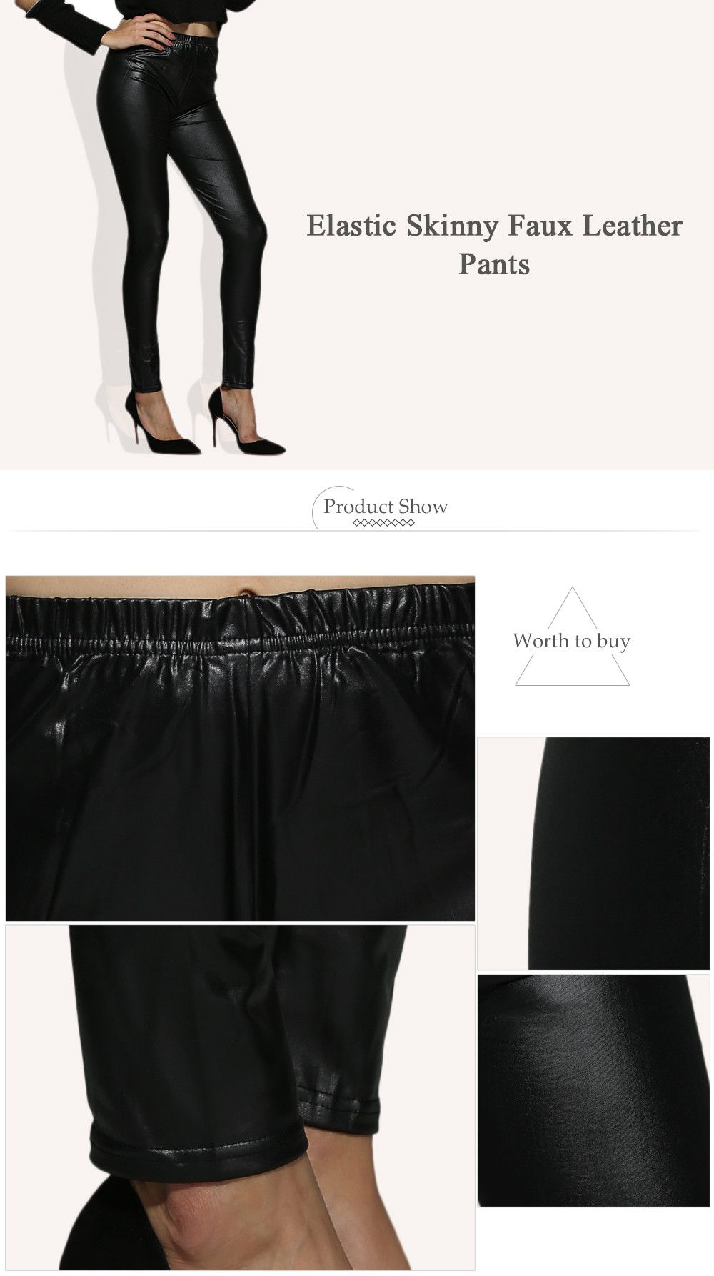 Trendy Elastic Waist Faux Leather Skinny Women Pants
