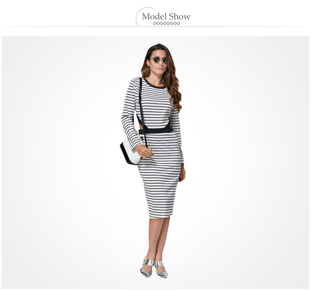 Casual Round Collar Cut Out Striped Cotton Blend Women Dress
