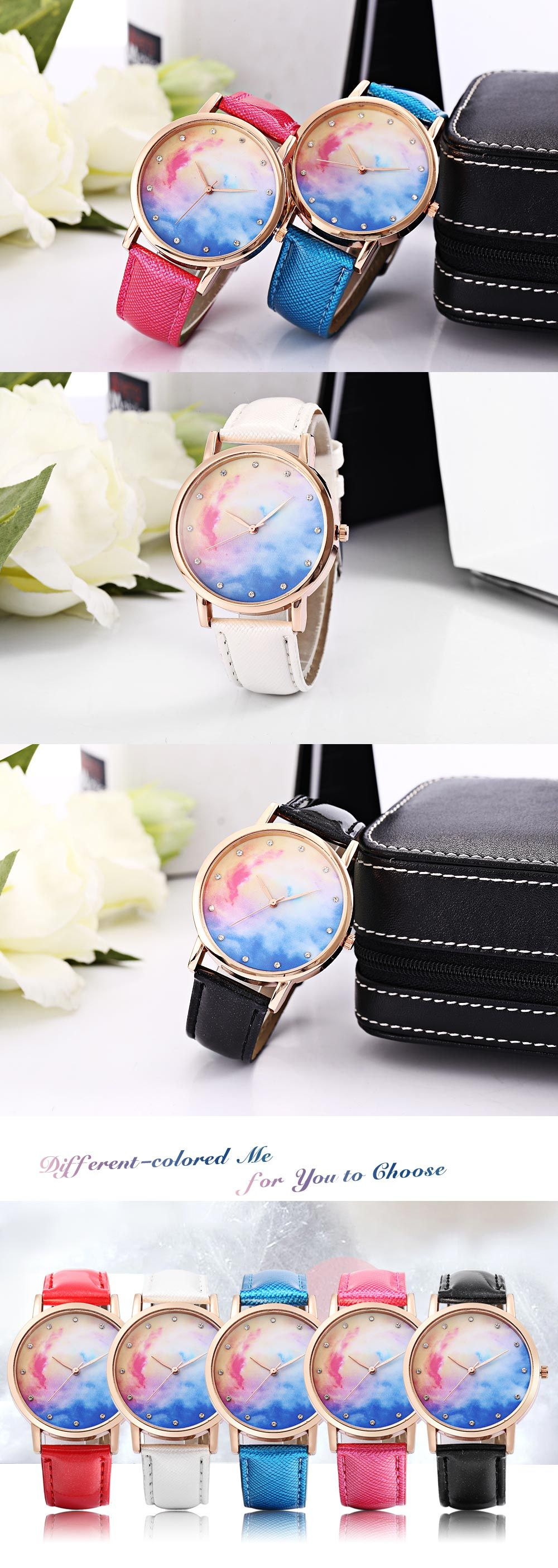 Fashion Female Quartz Watch Leather Band Artificial Diamond Starry Sky Pattern Dial Wristwatch