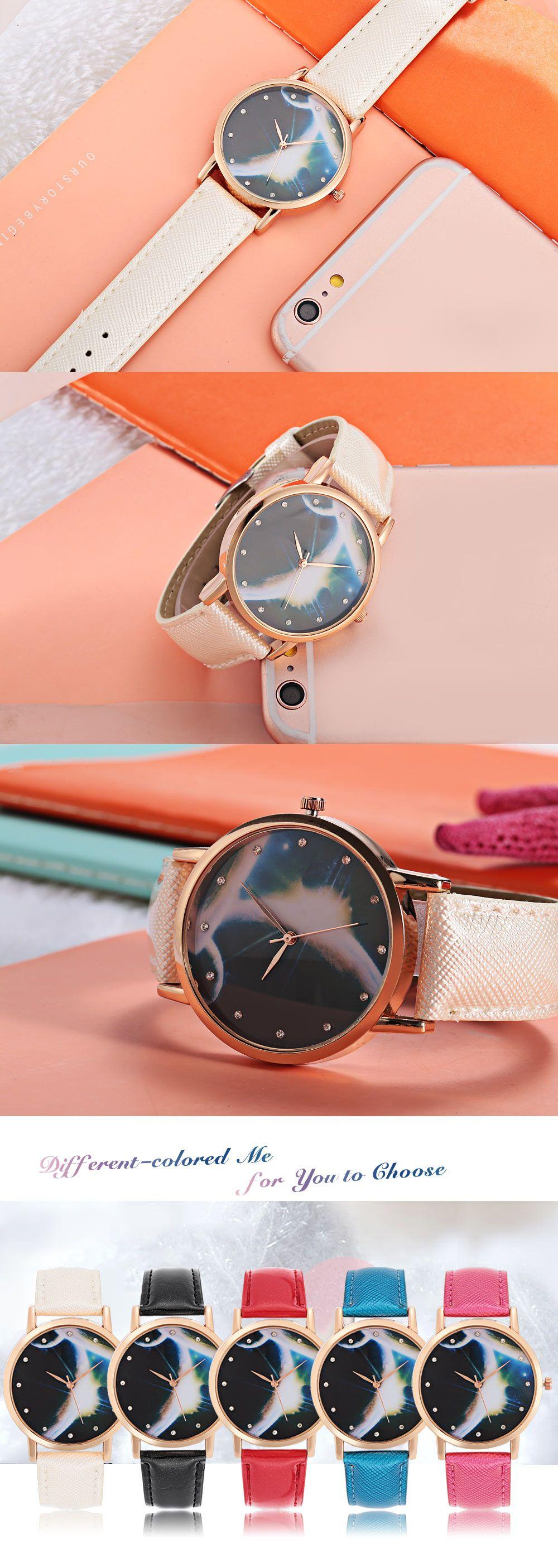 Vogue Women Quartz Watch Artificial Diamond Starry Sky Pattern Dial Leather Band Wristwatch