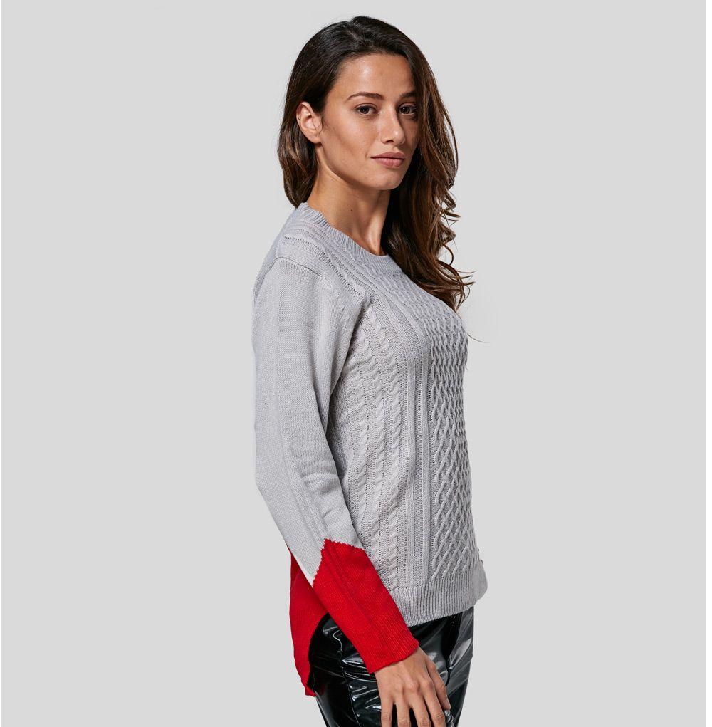 Fashionable Round Collar Color Block Women Pullover