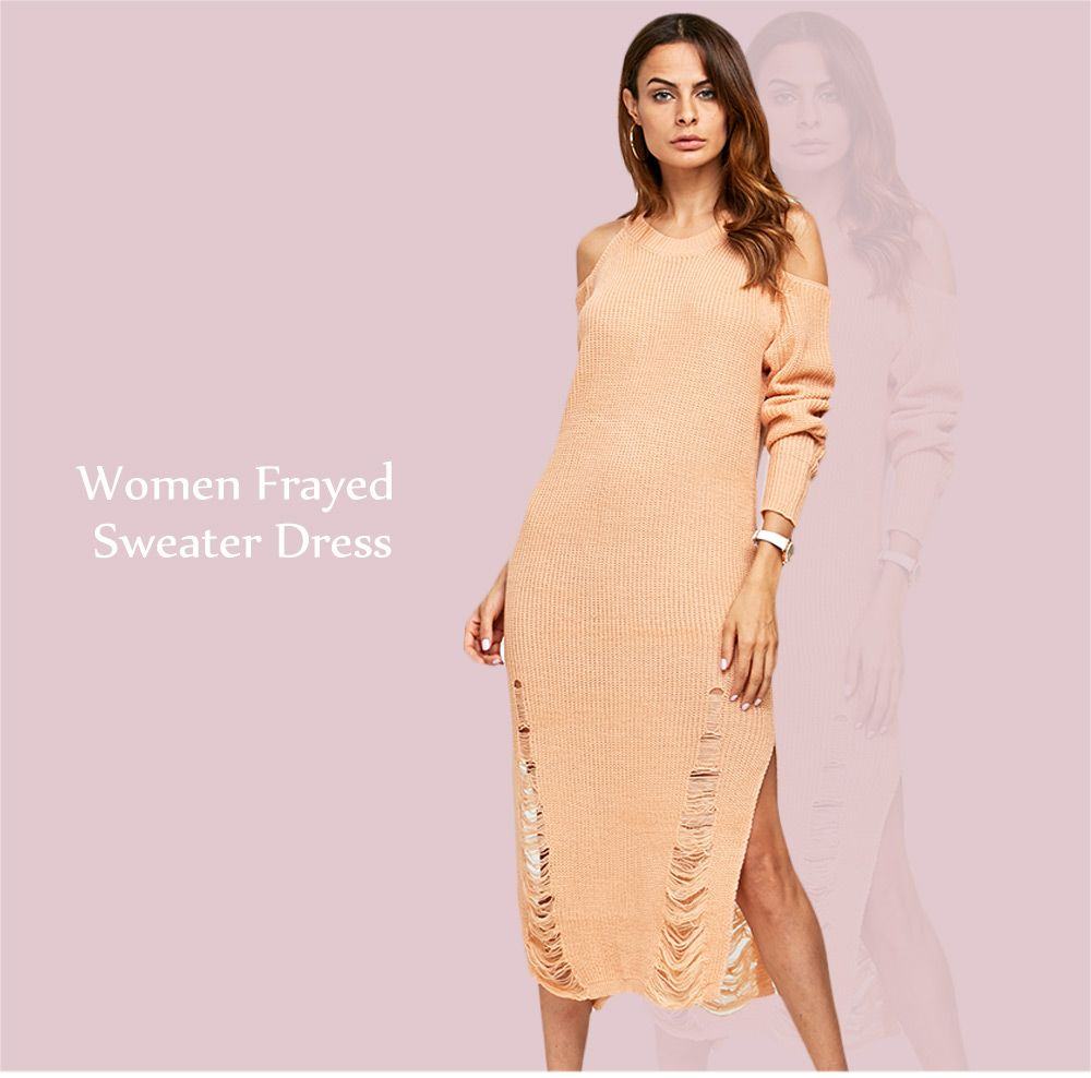 Simple Round Collar Cold Shoulder Frayed Women Sweater Dress