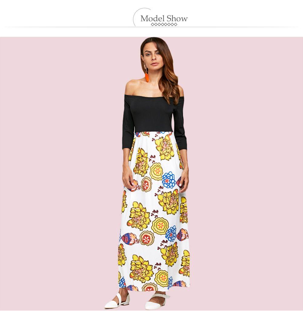 Stylish Off The Shoulder Floral Spliced Women Ankle Length Dress