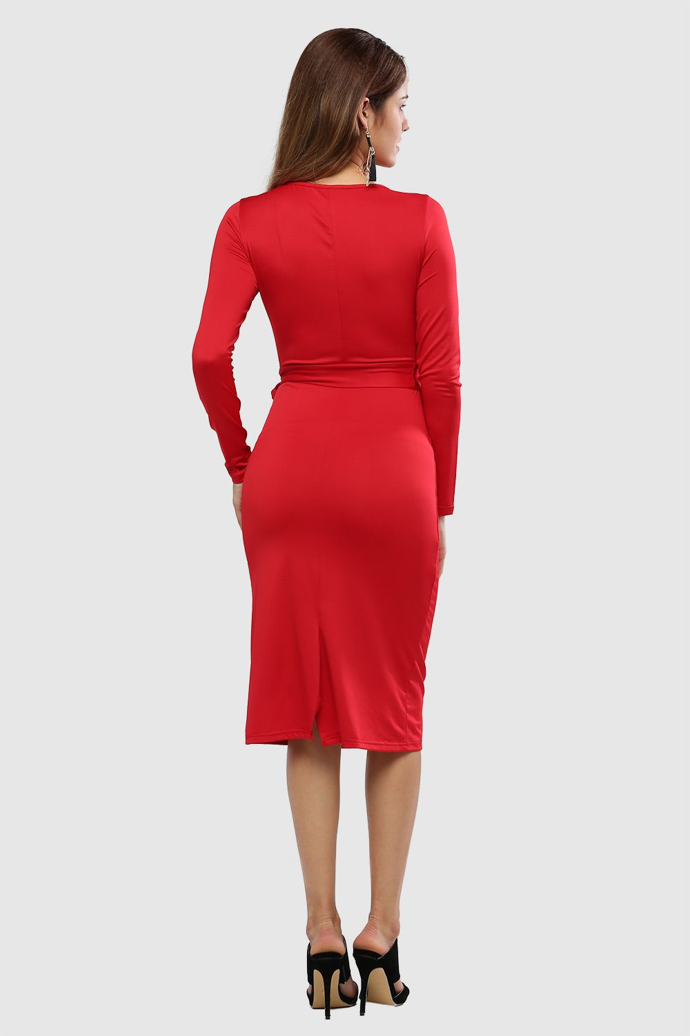 Long Sleeve Bodycon Dress With Slits
