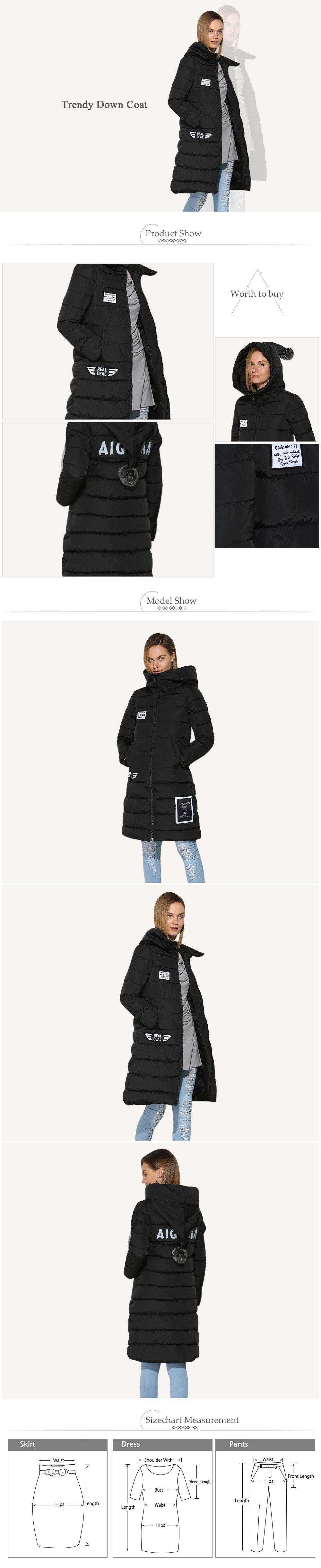 Trendy Hooded Patchwork Design Chunky Women Long Down Coat
