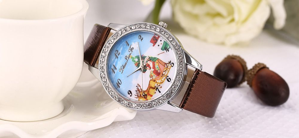 ZhouLianFa Women Quartz Watch Christmas Pattern Dial Leather Band Wristwatch