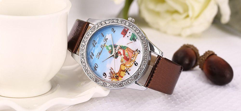 ZhouLianFa Women Quartz Watch Christmas Pattern Dial Leather Band Wristwatch