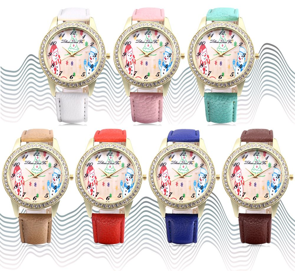 ZhouLianFa Female Quartz Watch Christmas Pattern Dial Leather Band Wristwatch
