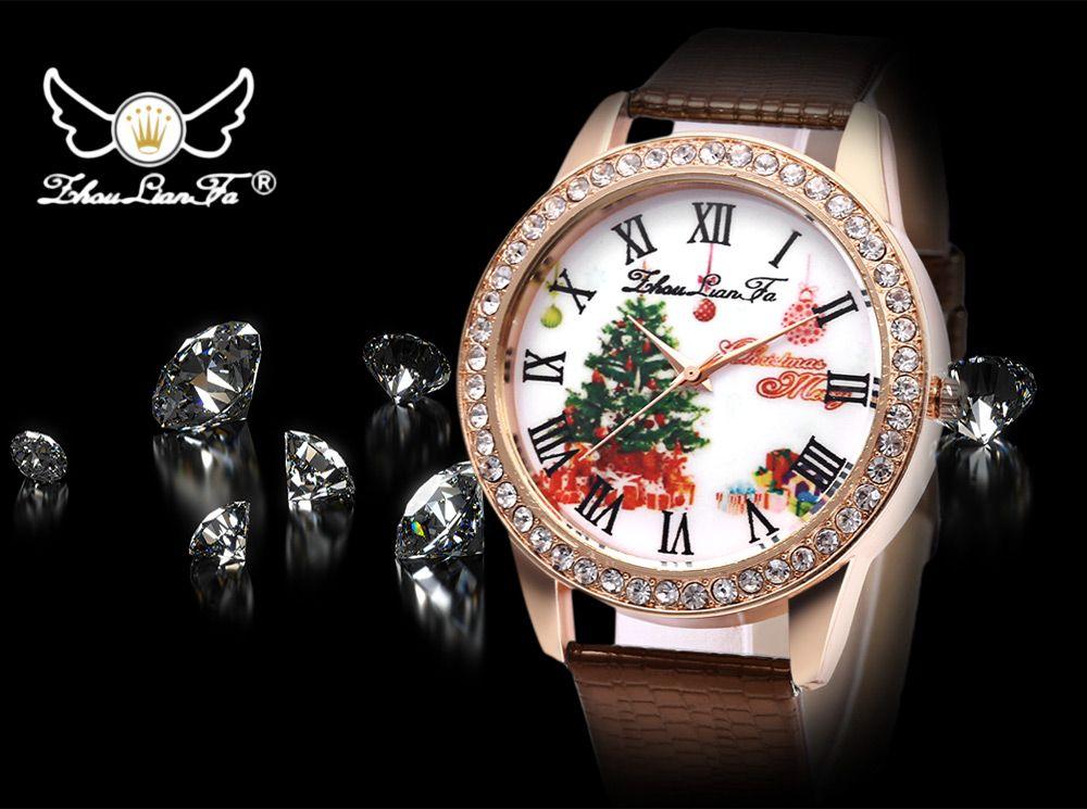 ZhouLianFa Women Quartz Watch Artificial Diamond Christmas Pattern Dial Leather Band Wristwatch