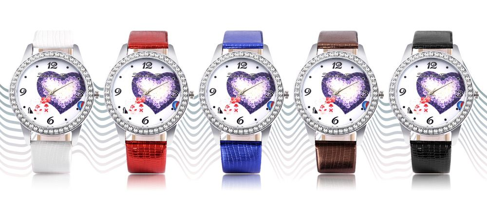 ZhouLianFa Female Quartz Watch Artificial Diamond Heart Pattern Dial Leather Band Wristwatch