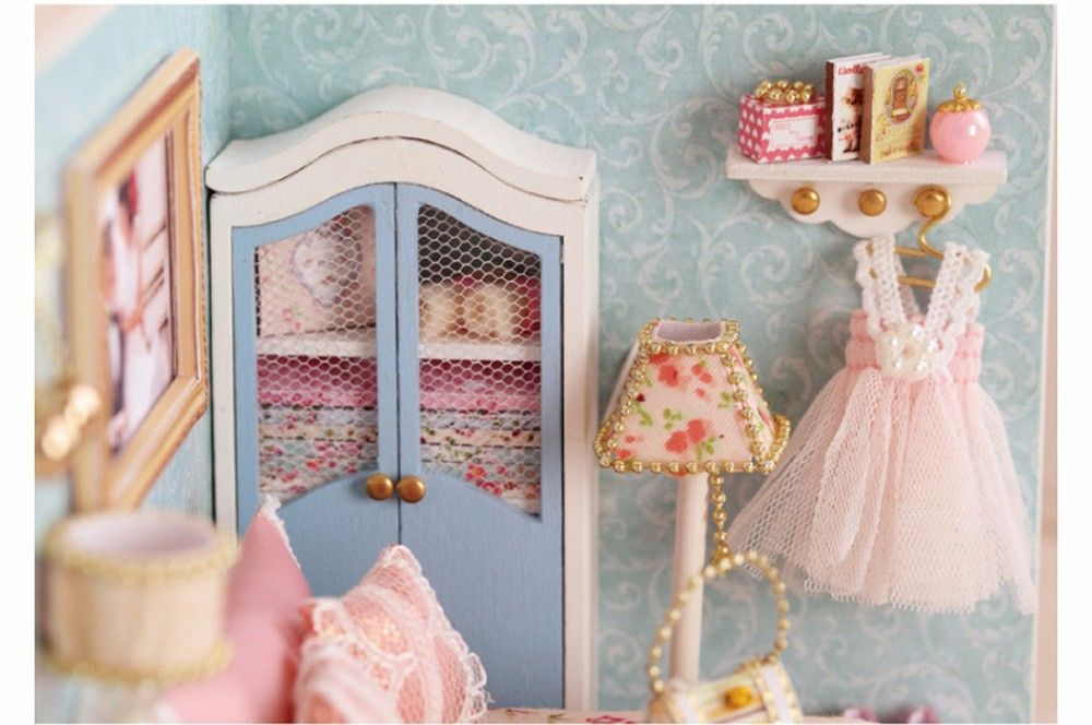 CUTEROOM H - 010 DIY Wooden Doll House Furniture Handcraft Miniature Box Kit - Happy Moment