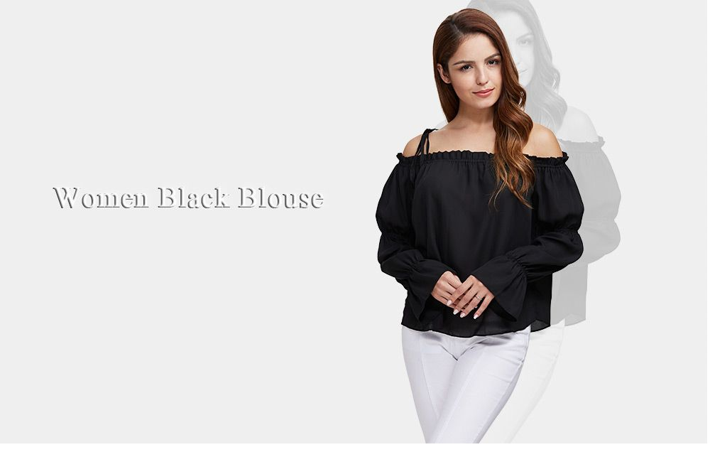 Sexy Off The Shoulder Pure Color Latern Sleeve Women Chiffon Blouse
