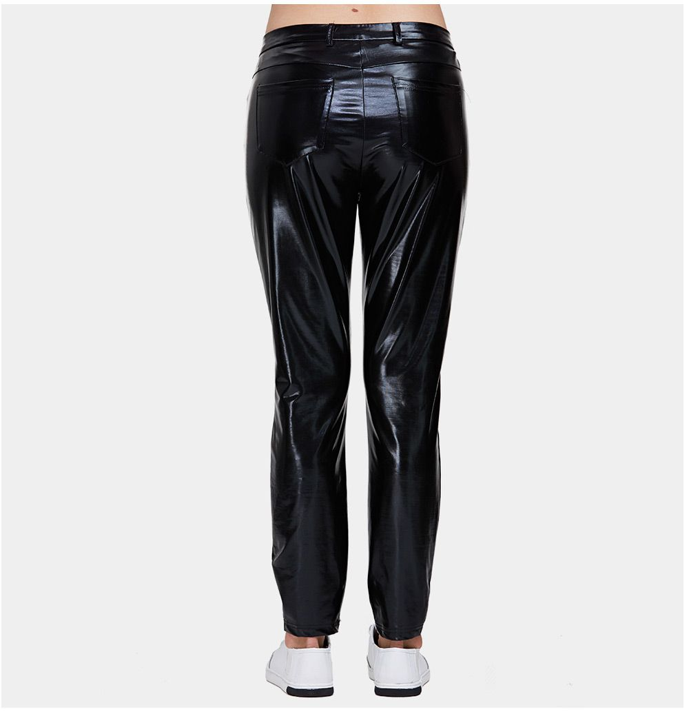 Trendy High Waist Faux Leather Skinny Women Pants
