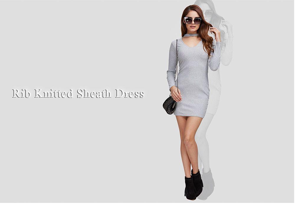 Simple Round Collar Cut Out Women Sheath Dress