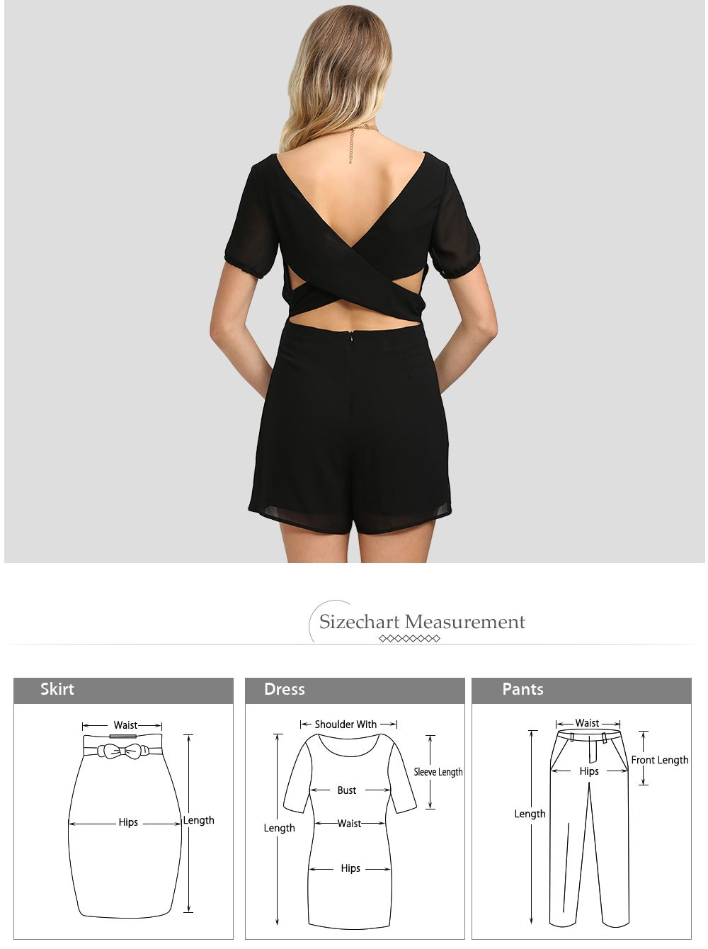 Sexy Plunging Neck Cut Out Self-tie Solid Color Women Chiffon Romper