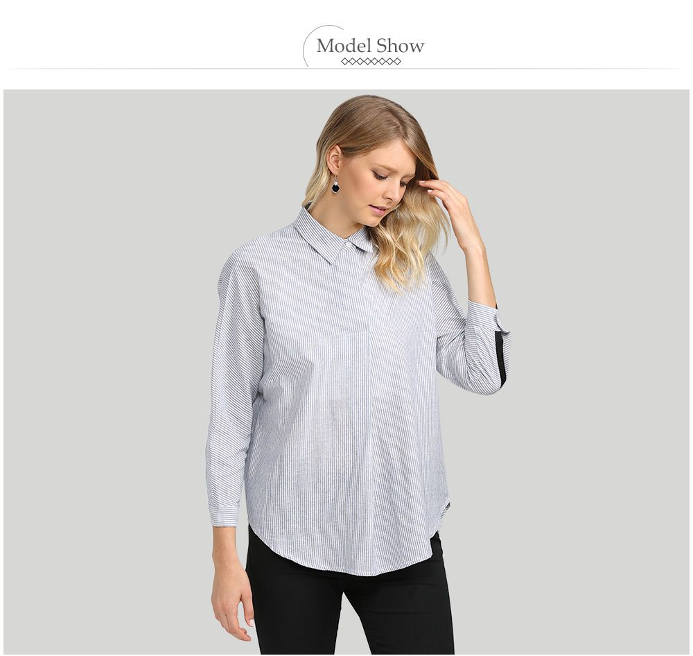 Casual Turn Down  Collar Striped Loose Women Shirt
