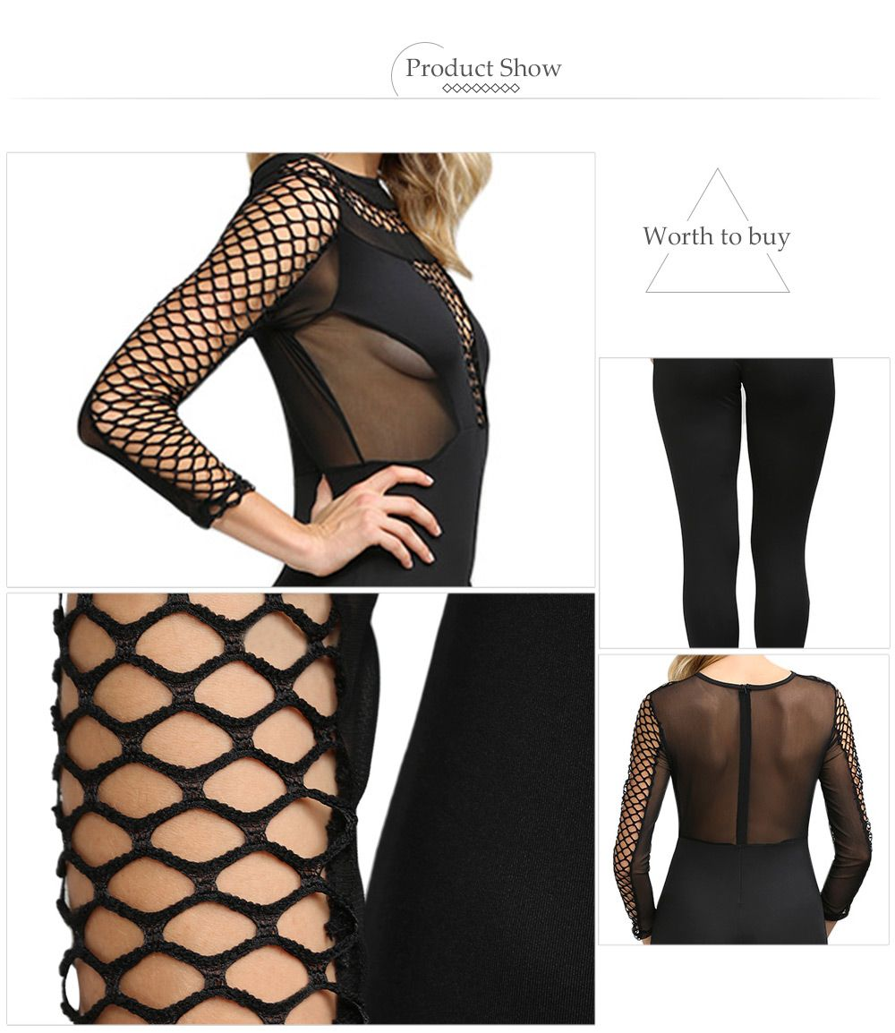 Sexy Round Collar Hollow Out Sheer Women Skinny Jumpsuit