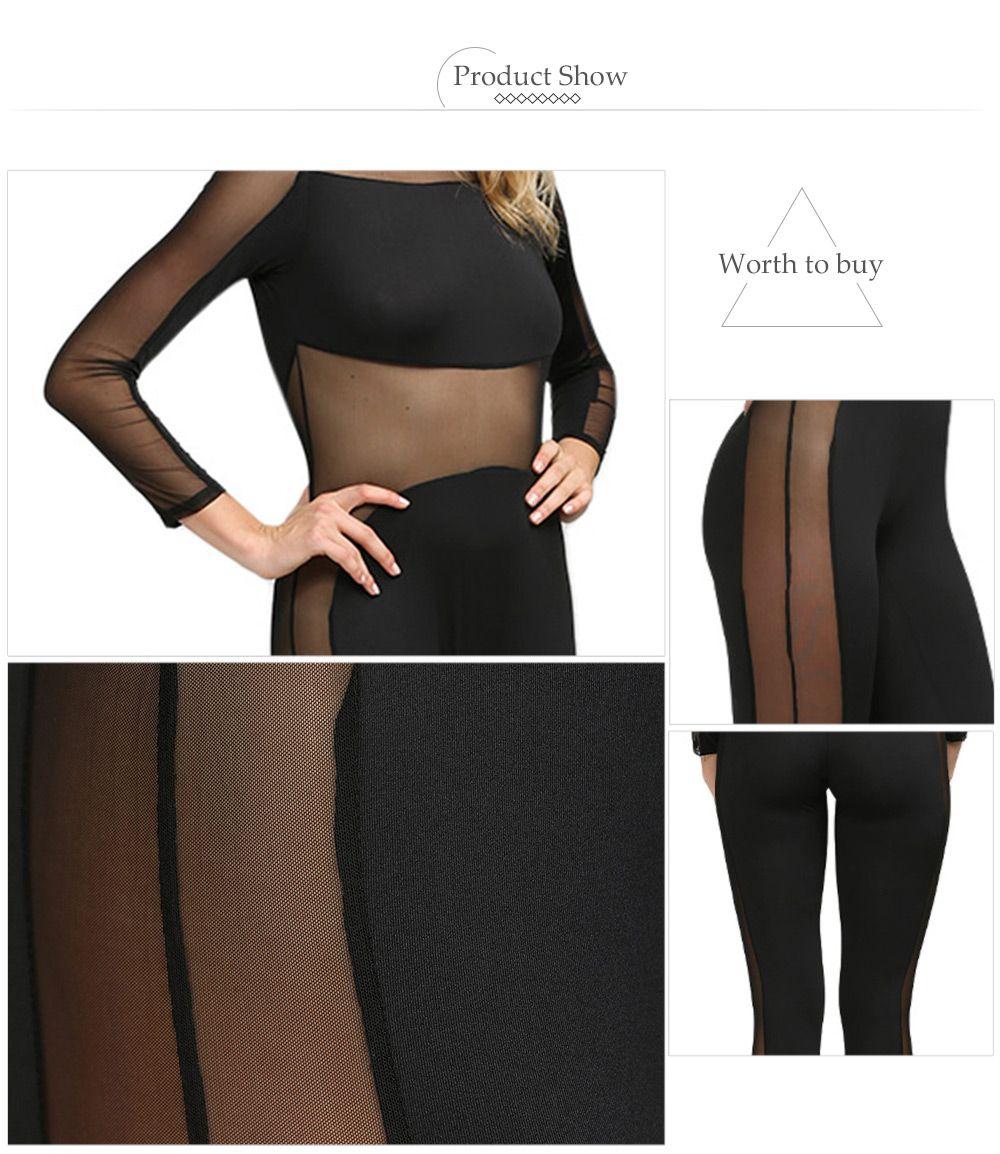 Sexy Round Collar Sheer Spliced Women Jumpsuit