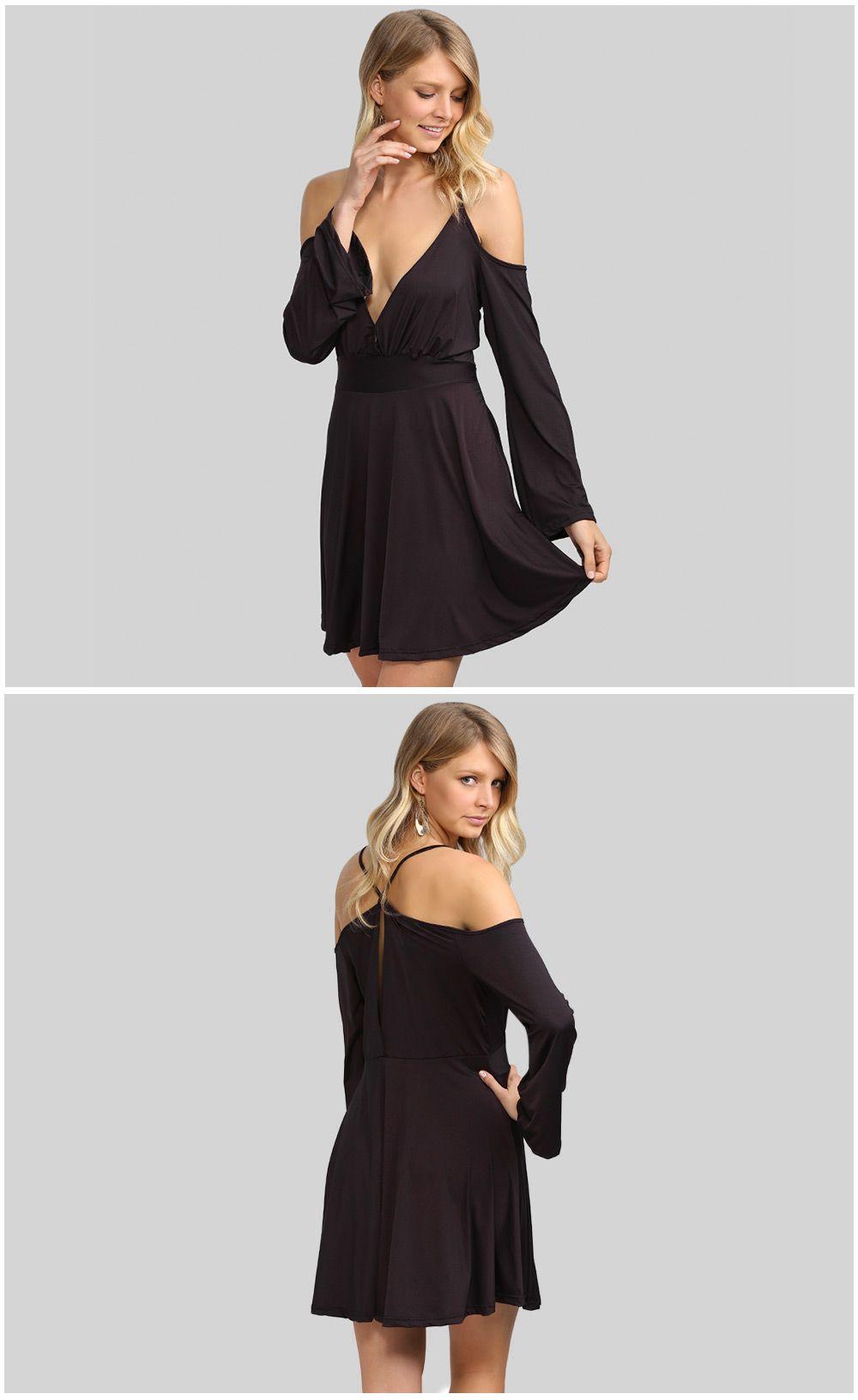 Sexy Cold Shoulder Flare Sleeve Sash Waist Women Dress