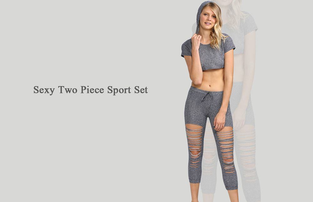 Active Hooded Frayed Cut Out Women Two Piece Sport Set