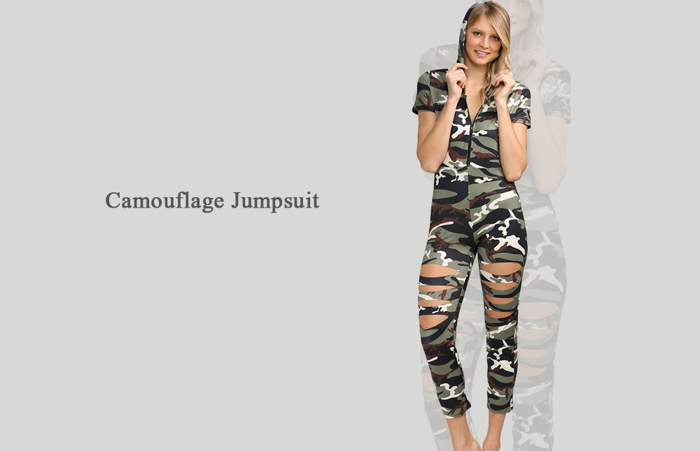 Stylish Hooded Allover Camouflage Cut Out Women Jumpsuit