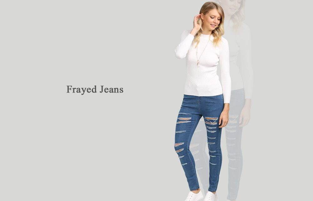 Street Style Mid Waist Hole Women Jeans