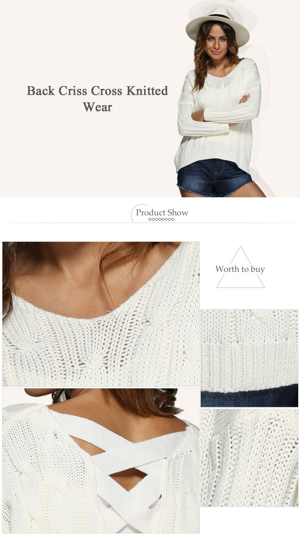 Brief Style V-Neck Knitted Loose-Fitting Women Pullover