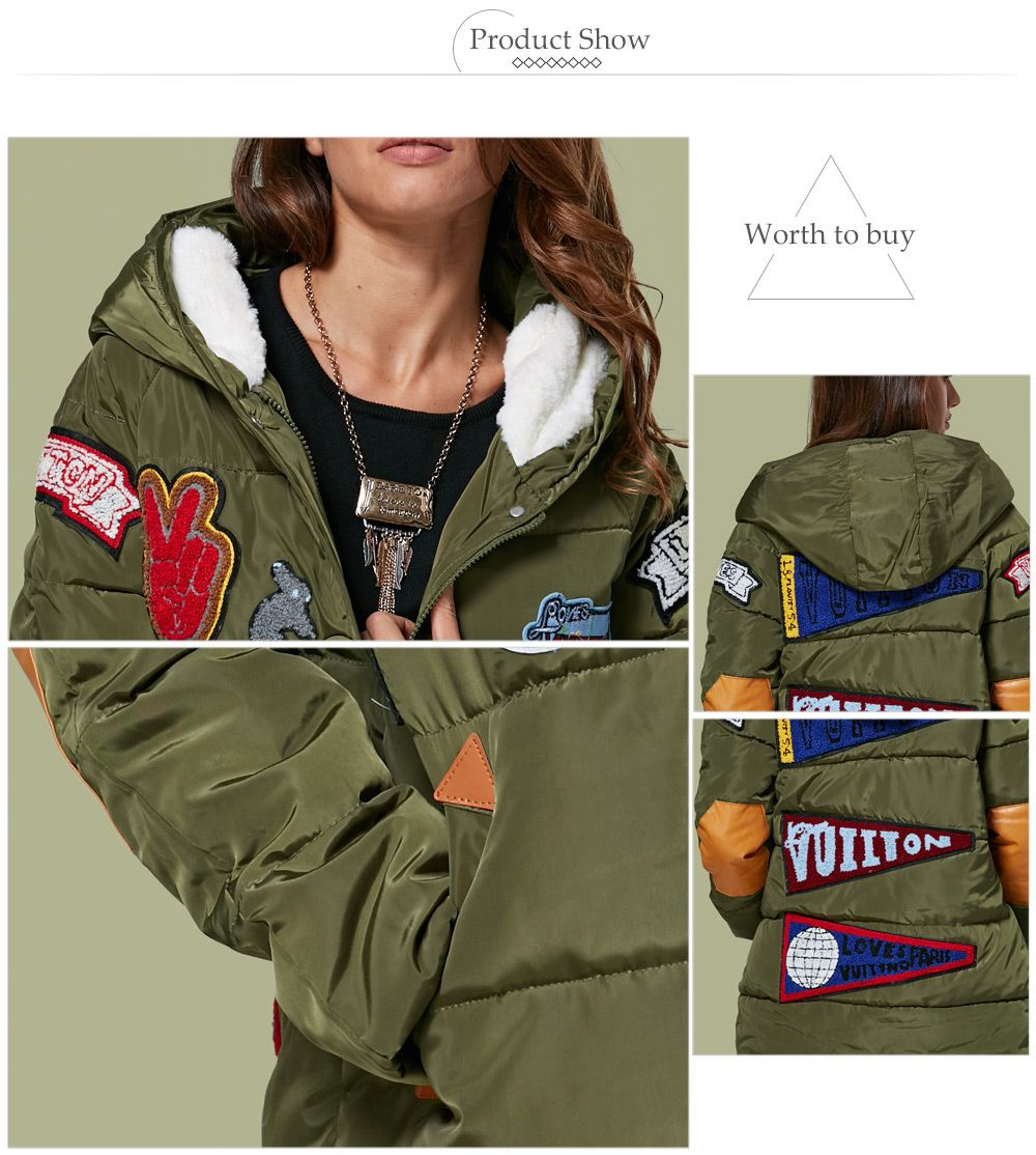 Trendy Hooded Patchwork Design Color Block Women Down Coat