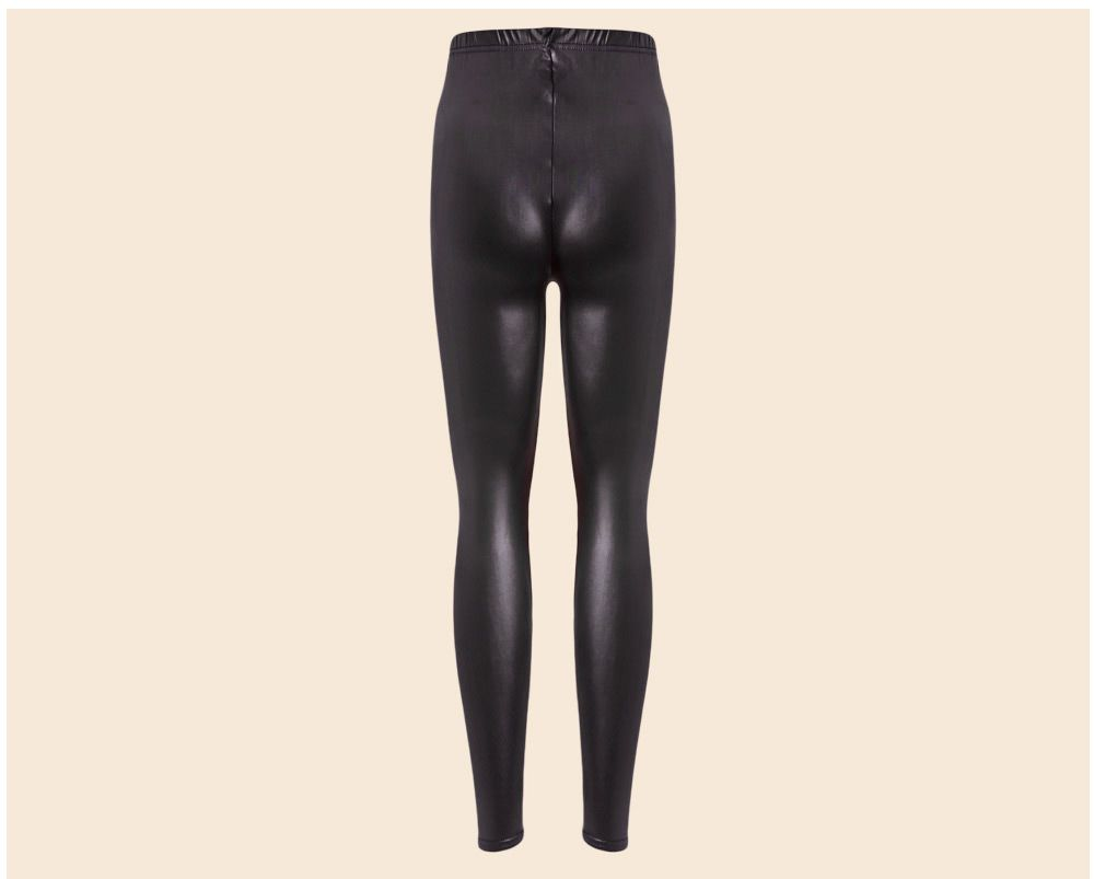 Brief Mid Waist Faux Leather Women Pants