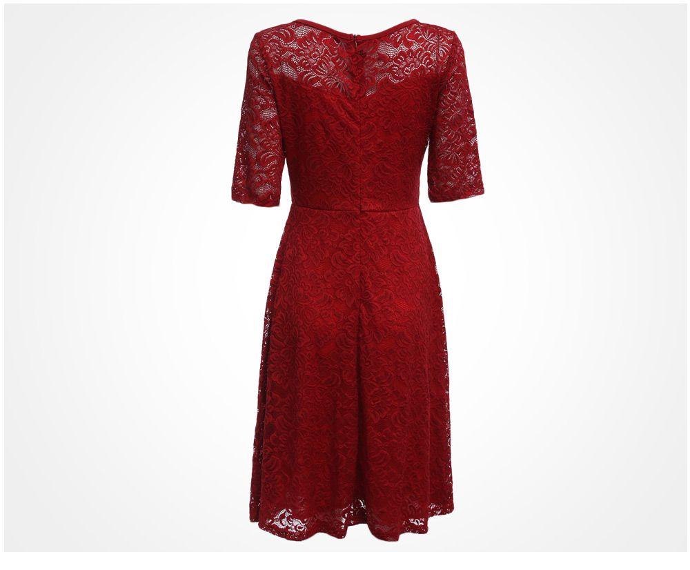 Elegant Round Collar Lace A-Line Women Midi Dress