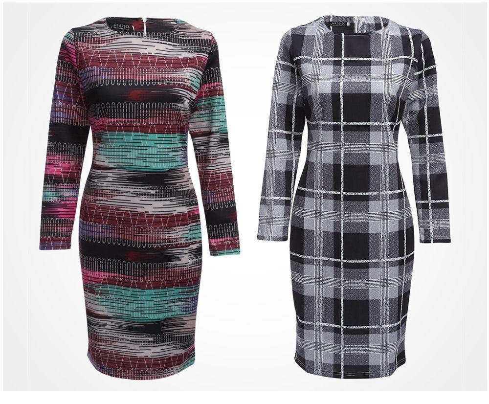 Trendy Round Collar Allover Print Women Sheath Dress