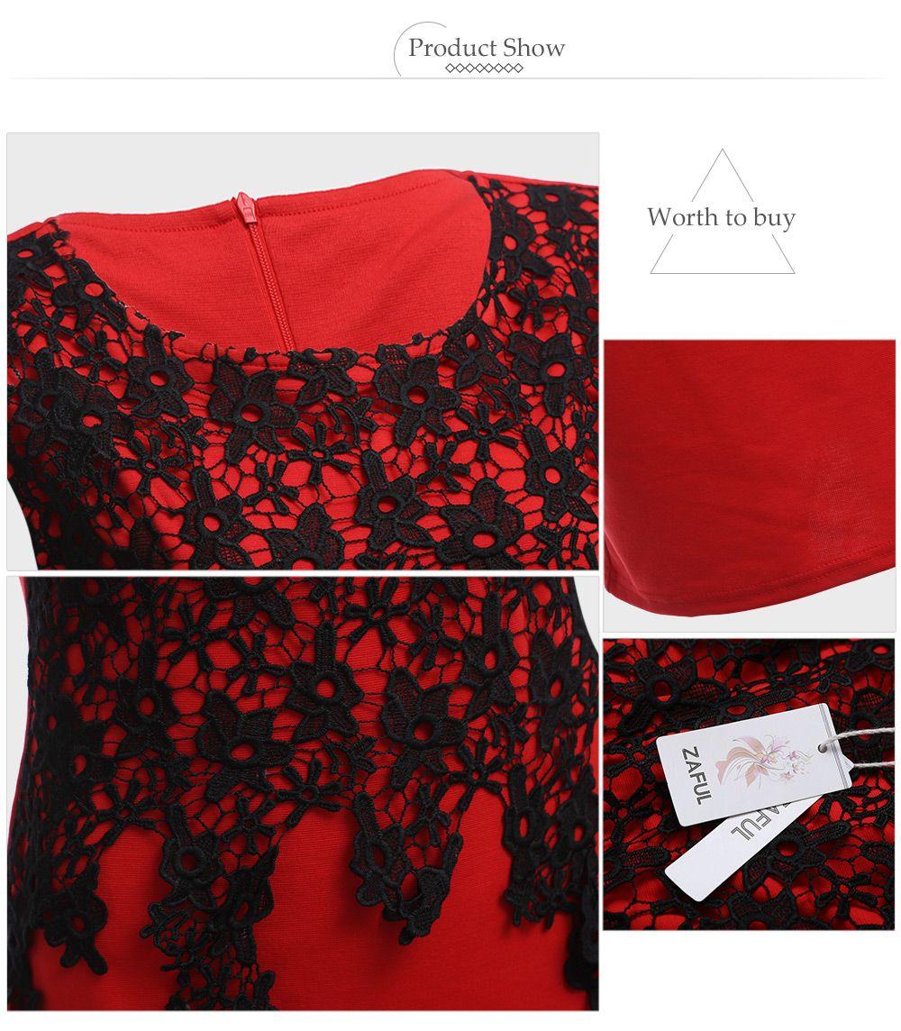 Elegant Round Collar Lace Spliced Color Block Women Bodycon Midi Dress