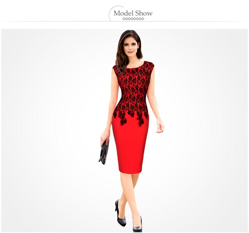 Elegant Round Collar Lace Spliced Color Block Women Bodycon Dress