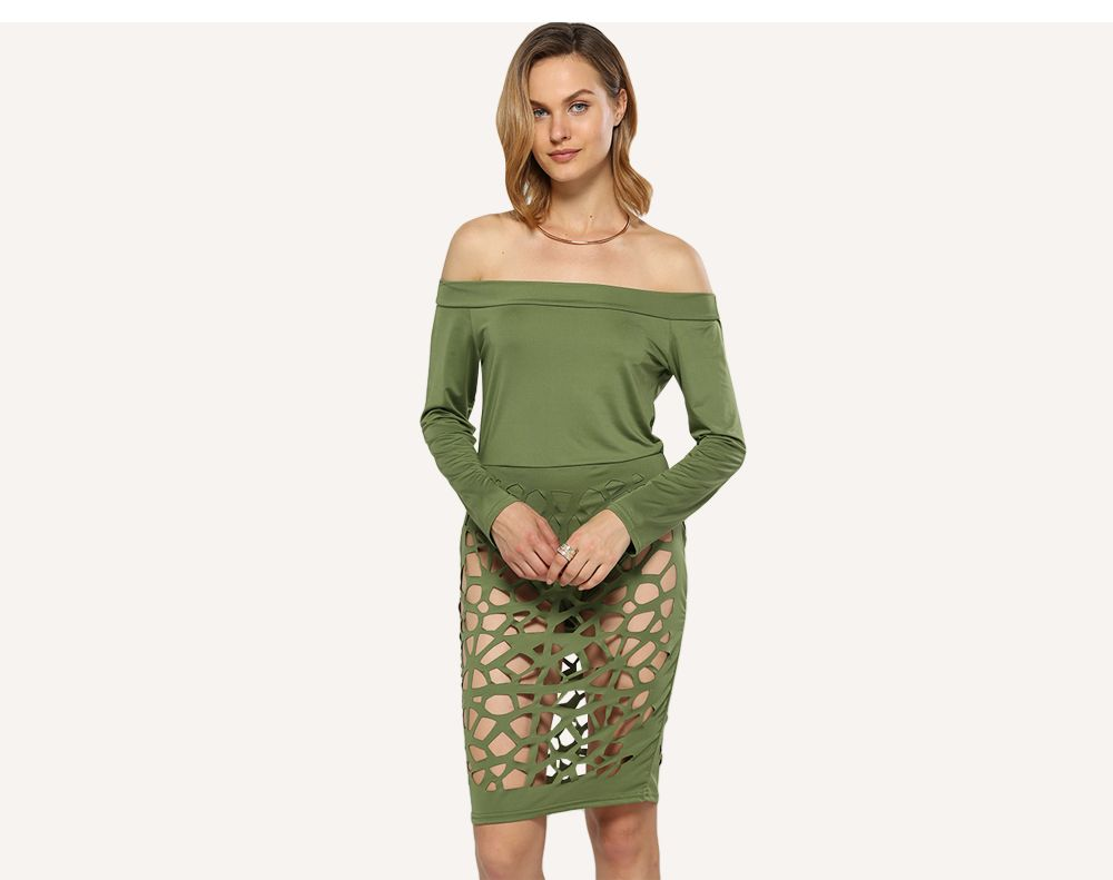 Sexy Off The Shoulder Hollow Out Women Sheath Dress