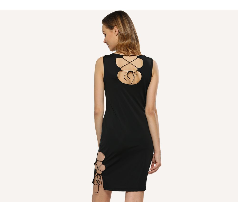 Sexy Round Collar Side Hollow Out Women Sheath Black Dress