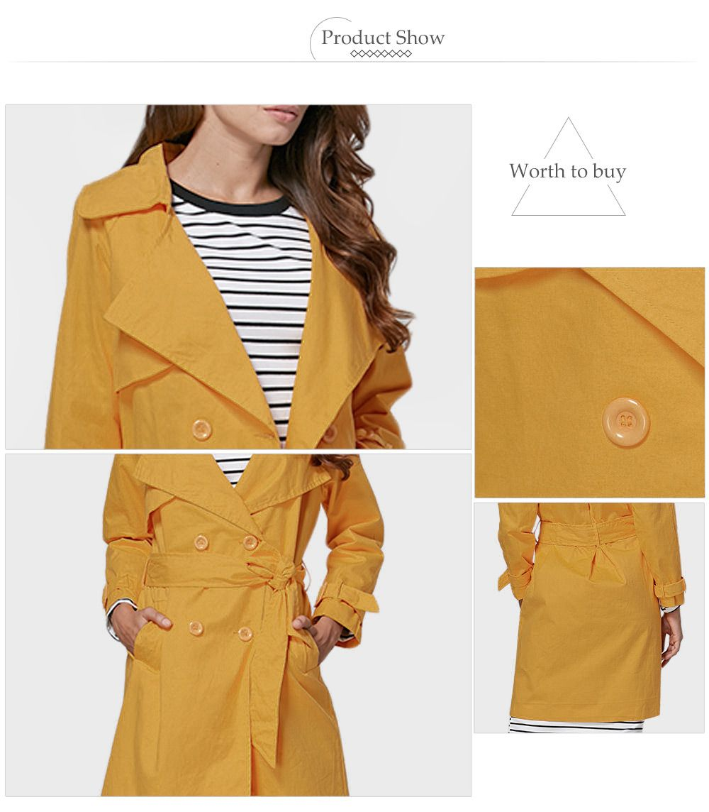 Chic Turn Down Collar Button Design Women Trench Coat